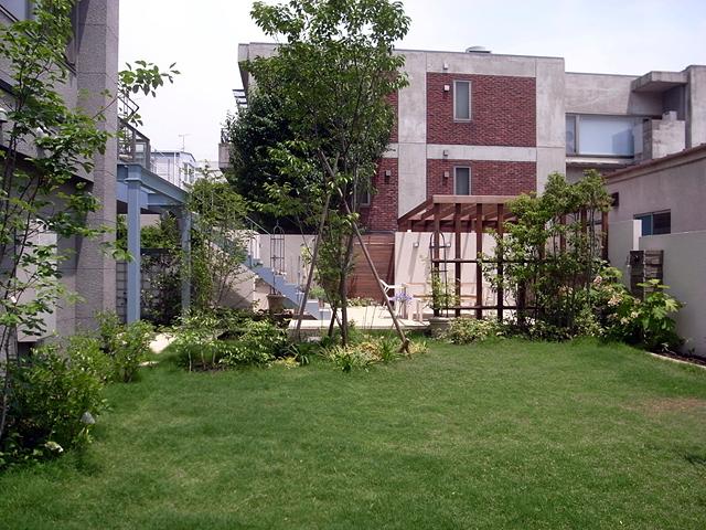 芝と自然あふれる庭で休日をすごす